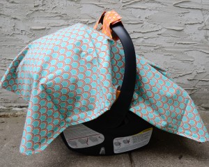 car-seat-cover-canopy-hatchlings-and-hens-teal-orange-side-view